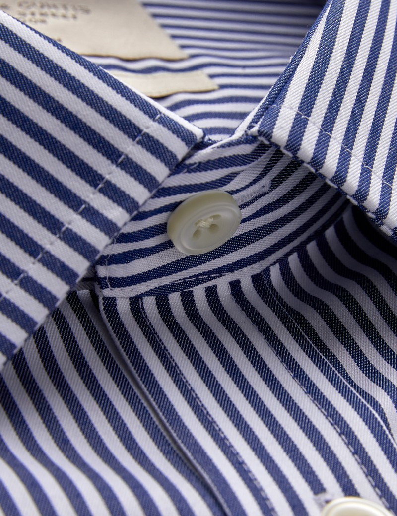 Men's Dress Navy & White Stripe Fitted Slim Shirt - French Cuff - Non Iron