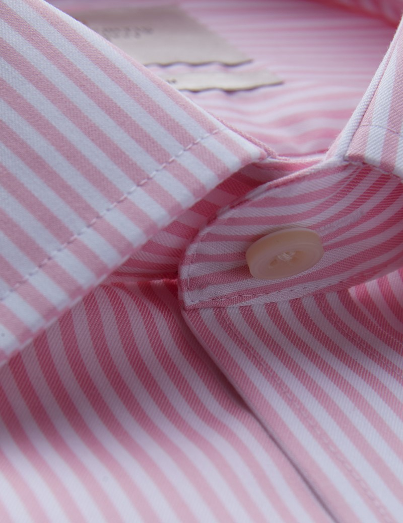 Men's Formal Pink & White Bengal Stripe Fitted Slim Shirt - Double Cuff - Non Iron