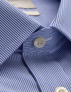 Men's Business Blue & White Fine Stripe Fitted Slim Shirt - Double Cuff - Non Iron