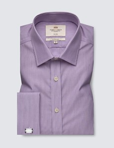 Men's Formal Lilac & White Fine Stripe Fitted Slim Shirt - Double Cuff - Non Iron