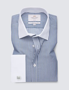 Non Iron Navy & White Bengal Stripe Fitted Slim Business Shirt with Double Cuffs