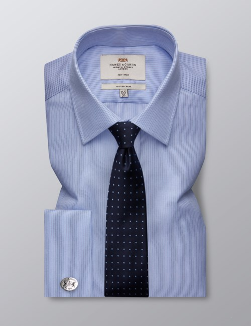 Men's Formal Navy & Blue Thin Stripe Fitted Slim Shirt - Double Cuff - Non Iron