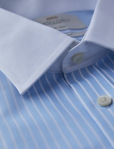 Men's Formal Light Blue & White Stripe Fitted Slim Shirt - Double Cuff - Non Iron