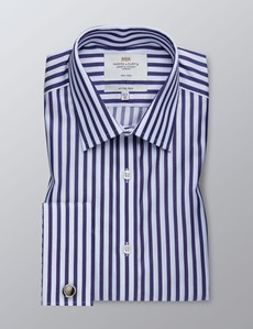 Men's Business Navy & White Bengal Stripe Fitted Slim Shirt - Double Cuff - Non Iron