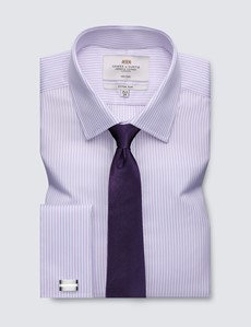 Men's Business Lilac & White Coloured Stripe Fitted Slim Shirt - Double Cuff - Non Iron