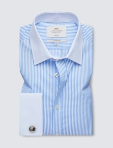 Non Iron Blue & White Bengal Stripe Fitted Slim Shirt - Double Cuff
