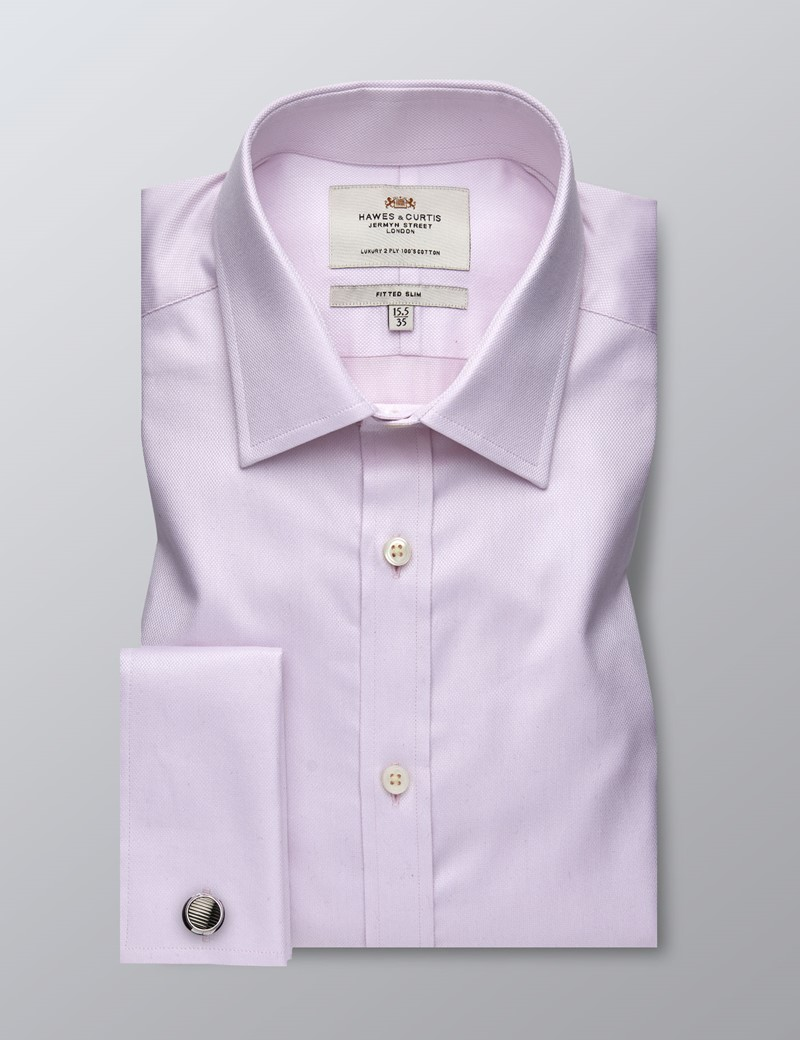Men's Formal Pink Fabric Interest Fitted Slim Shirt - Double Cuff - Easy Iron