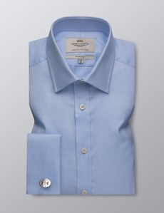 Men's Business Blue Fabric Interest Fitted Slim Shirt - Double Cuff - Easy Iron