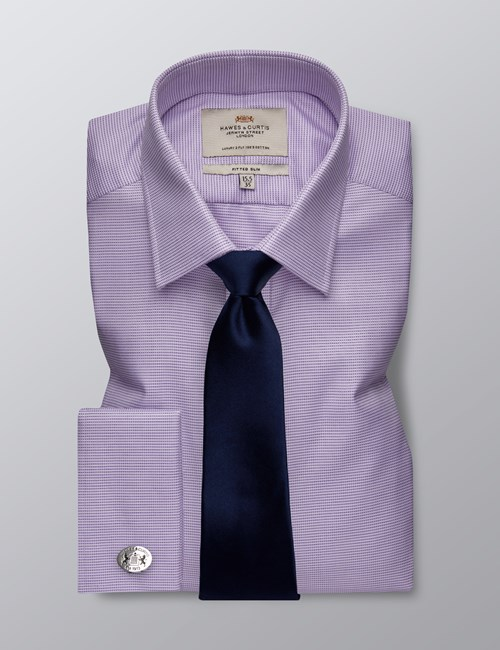 Men's Dress Lilac & White Dobby Fitted Slim Shirt - French Cuff - Easy Iron