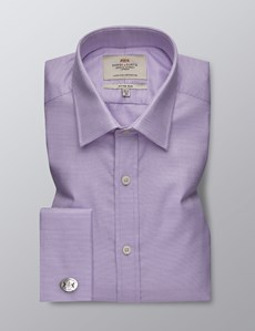 Men's Formal Lilac & White Dobby Fitted Slim Shirt - Double Cuff - Easy Iron