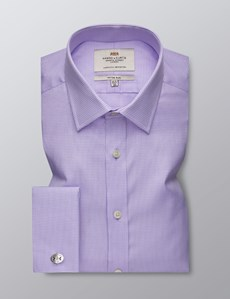 Men's Business Lilac & White Textured Dobby Fitted Slim Shirt - Double Cuff - Easy Iron
