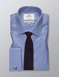 Bügelleichtes Businesshemd – Fitted Slim Fit – Kentkragen – navy-weiß kleiner Hahnentritt