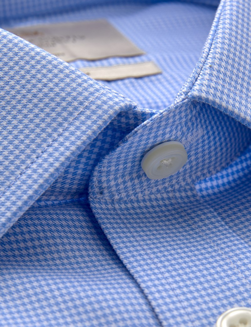 Bügelfreies Businesshemd – Fitted Slim Fit – Manschetten – Dobby blau