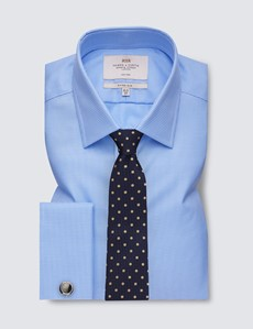 Men's Business Blue & White Dobby Fitted Slim Shirt - Double Cuff - Non Iron