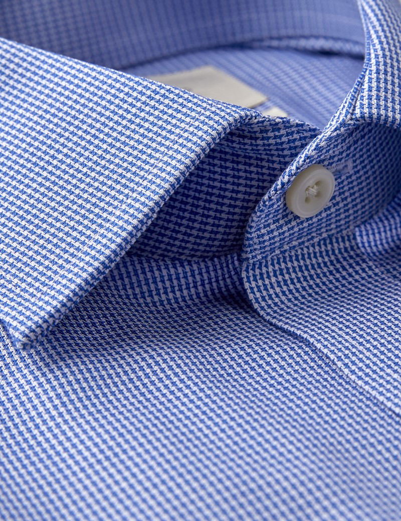 Men's Business Blue & White Dobby Dogtooth Check Fitted Slim Shirt - Double Cuff - Non Iron