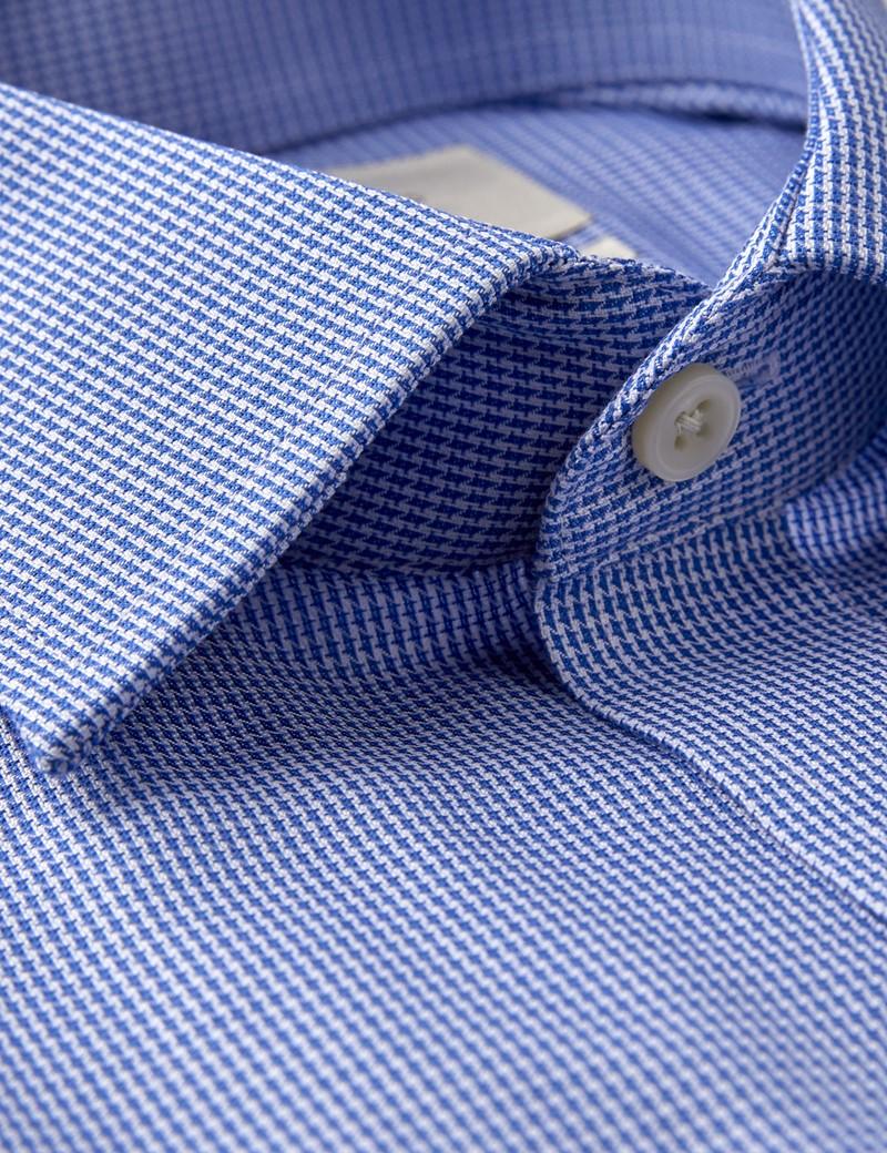 Bügelfreies Businesshemd – Fitted Slim Fit – Manschetten – Hahnentritt blau