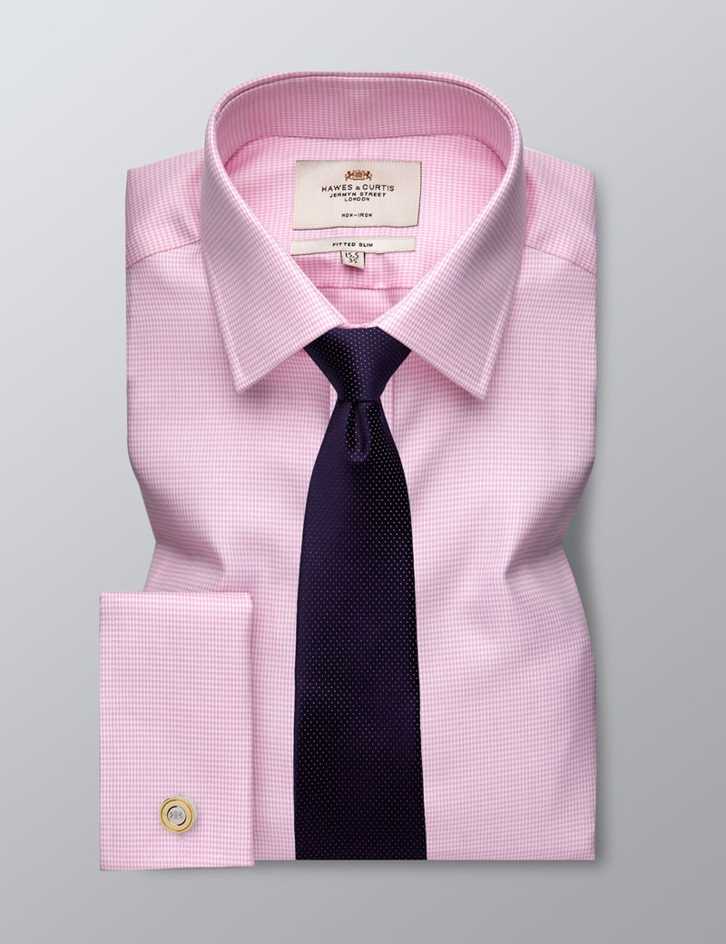 Men's Formal Pink Dobby Dogtooth Check Fitted Slim Shirt - Double Cuff - Non Iron