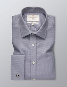 Men's Dress Grey Dobby Dogtooth Plaid Fitted Slim Shirt - French Cuff - Non Iron