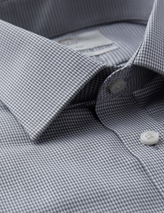 Men's Business Grey Dobby Dogtooth Check Fitted Slim Shirt - Double Cuff - Non Iron