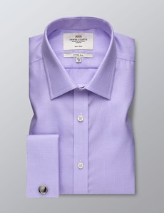 Men's Formal Lilac Dobby Fitted Slim Shirt - Double Cuff - Non Iron