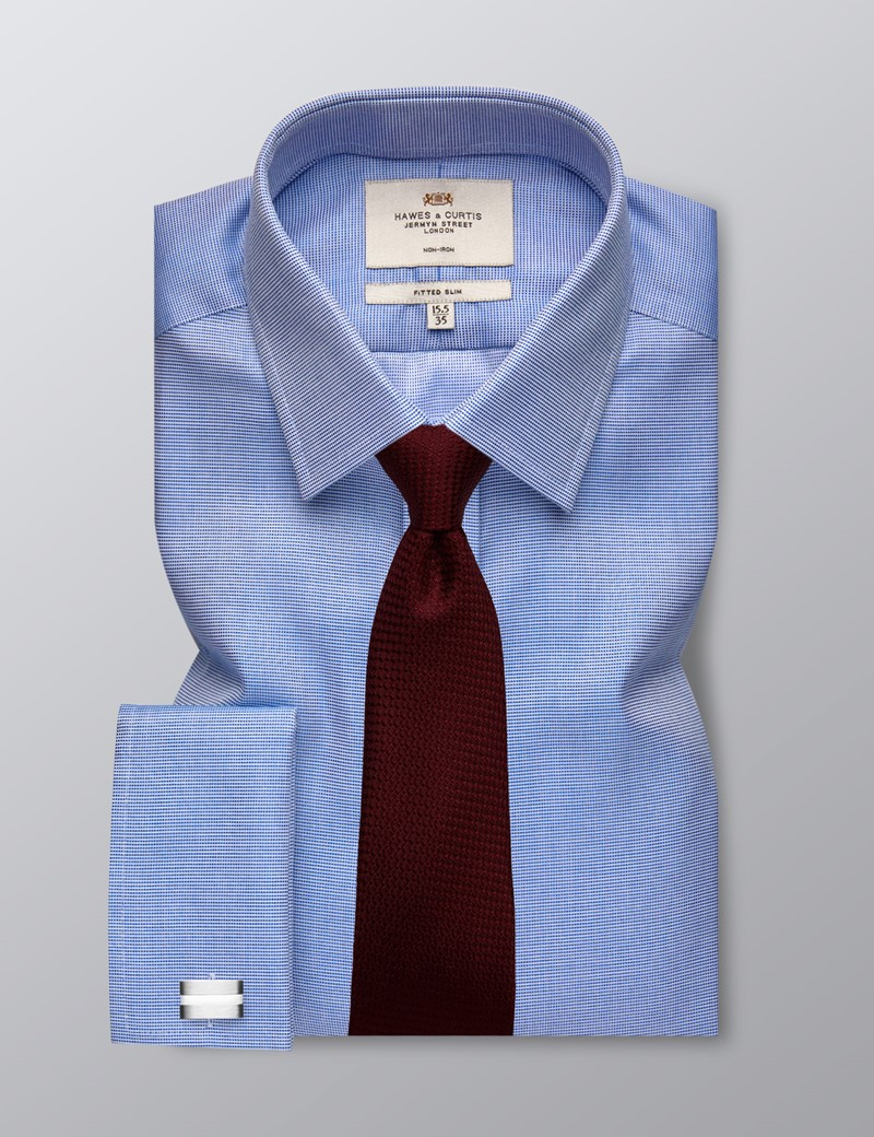 Men's Formal Navy & White Dobby Fitted Slim Shirt - Double Cuff - Non Iron