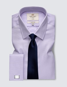Men's Formal Lilac & White Dobby Fitted Slim Shirt - Double Cuff - Non Iron