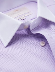 Non Iron Lilac & White Fabric Interest Fitted Slim Shirt - Semi Cutaway Collar - Double Cuffs