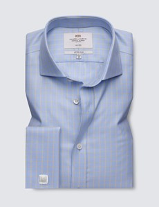 Non Iron Blue & Yellow Large Check Fitted Slim Shirt with Windsor Collar and Double Cuffs