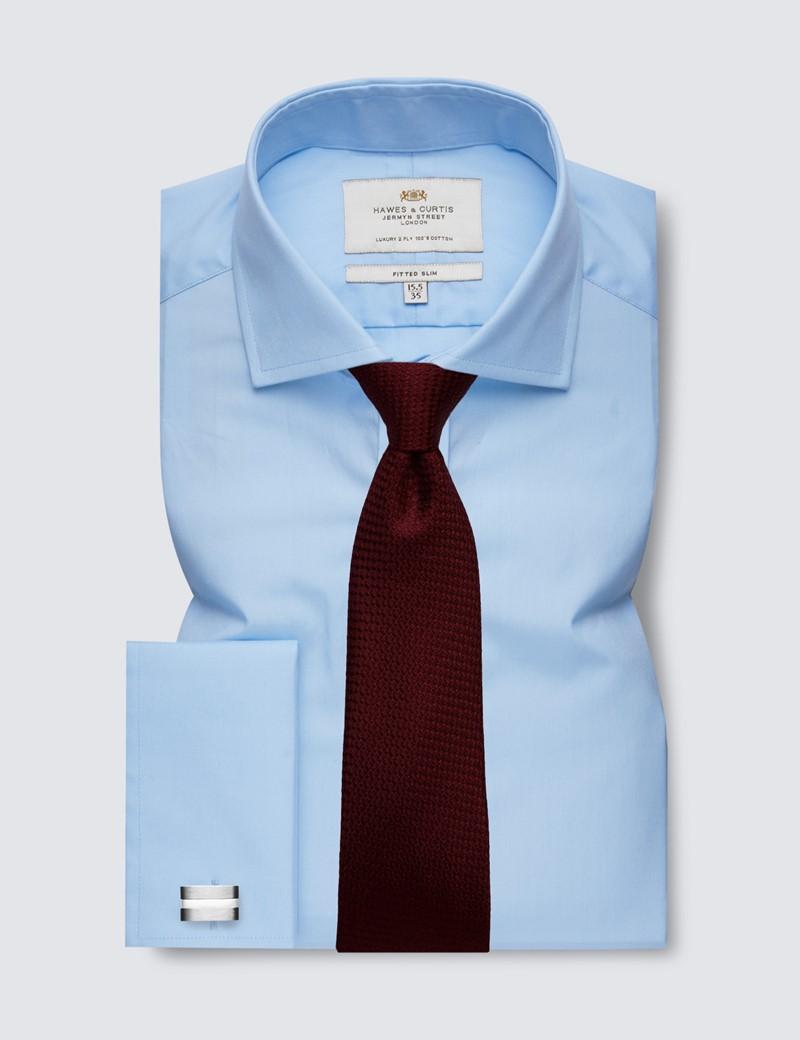 Men's Dress Blue Poplin Fitted Slim Shirt - Windsor Collar - French Cuff - Easy Iron