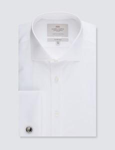 Businesshemd – Fitted Slim Fit – Manschetten – Popeline Weiß