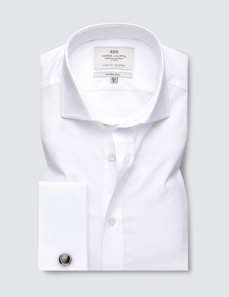 Men's Business Formal White Poplin Fitted Slim Shirt - Windsor Collar - Double Cuff - Easy Iron
