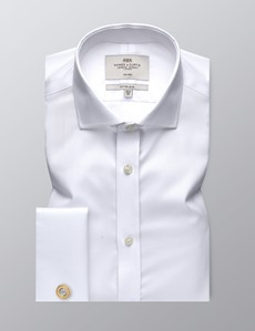 Men's Formal White Twill Fitted Slim Shirt - Windsor Collar - Double Cuff - Non Iron