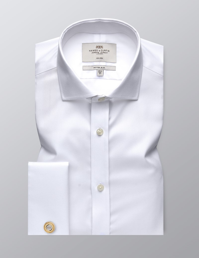 Men's Dress White Twill Fitted Slim Shirt - Windsor Collar - French Cuff - Non Iron