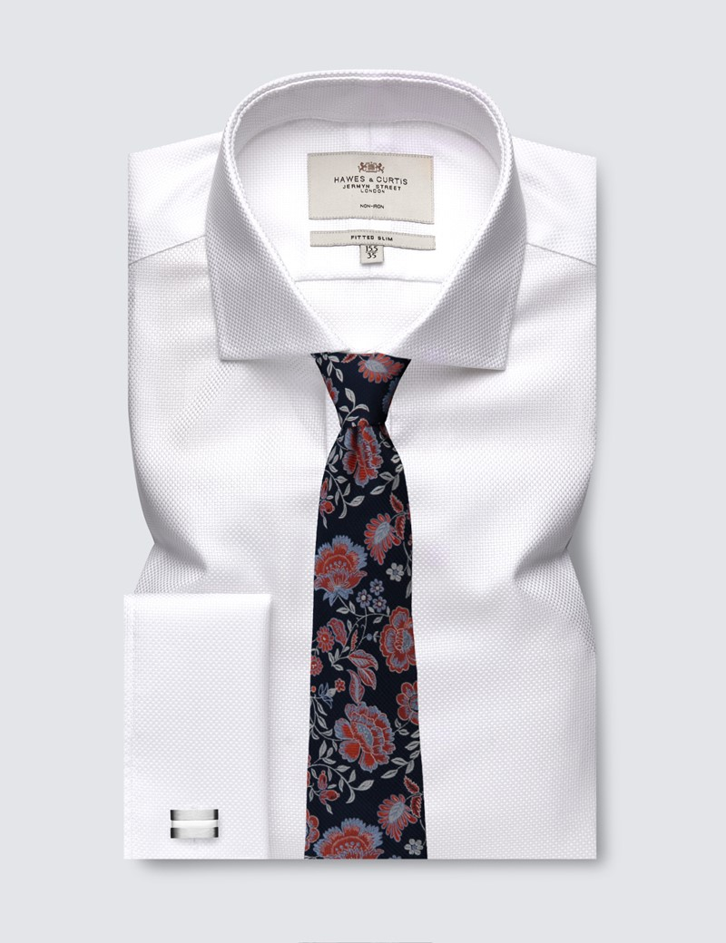 Men's Formal White Fabric Interest Fitted Slim Shirt - Windsor Collar - Double Cuff - Non Iron