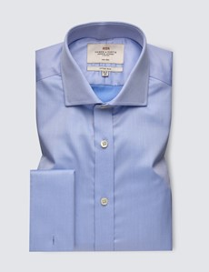 Men's Business Blue Plain Fitted Slim Shirt - Windsor Collar - Double Cuff - Easy Iron