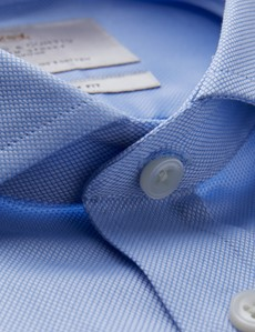 Men's Dress Blue Plain Fitted Slim Shirt - Windsor Collar - French Cuff - Easy Iron