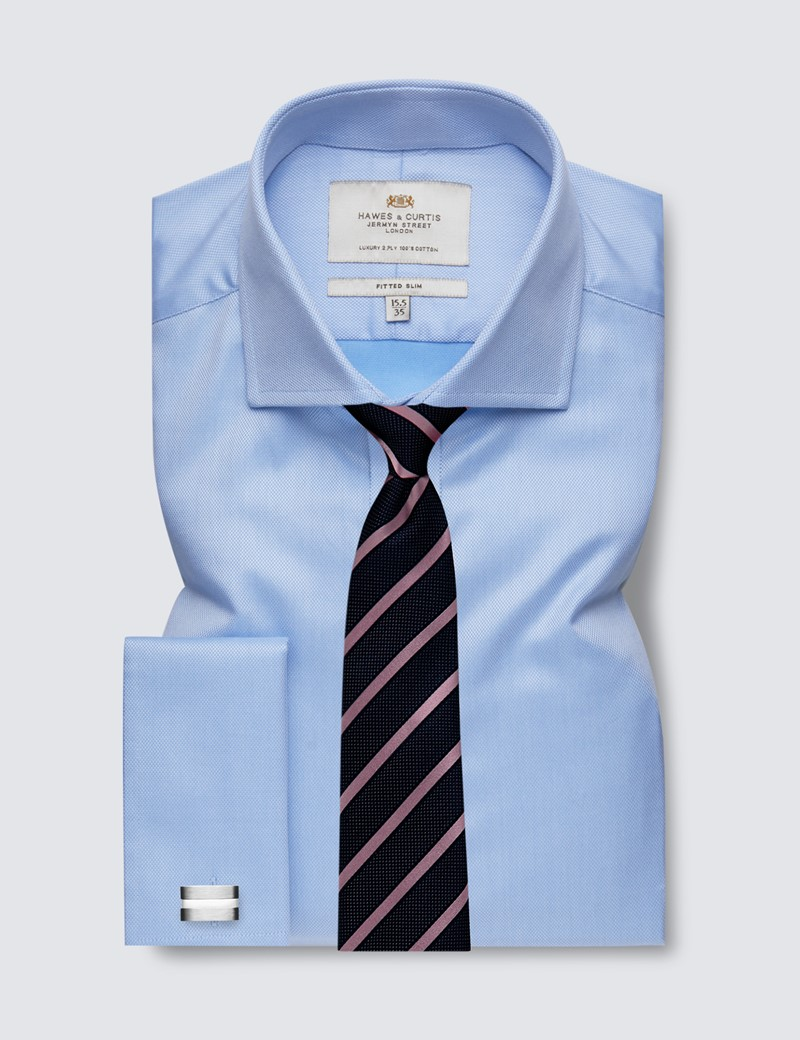Men's Formal Blue Pique Fitted Slim Shirt - Windsor Collar - Double Cuff - Easy Iron
