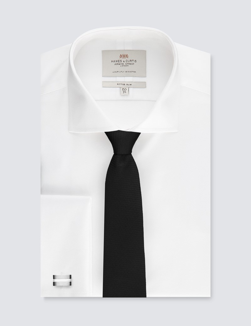 Easy Iron White Pique Fitted Slim Shirt - Windsor Collar - Double Cuffs