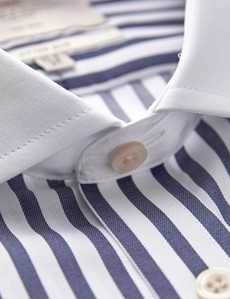 Men's Business Navy & White Stripe Fitted Slim Shirt - Double Cuff - Windsor Collar - Non Iron