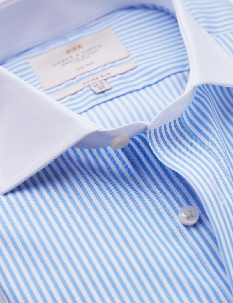 Non Iron Blue & White Bengal Stripe Fitted Slim Shirt - Full Cutaway Collar - Double Cuffs