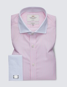 Men's Business Pink & White Bengal Stripe Fitted Slim Shirt - Windsor Collar - Double Cuff - Non Iron