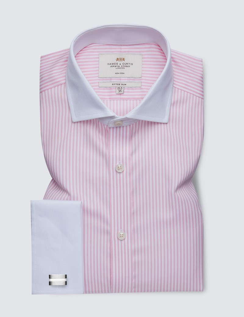 Men's Formal Pink & White Bengal Stripe Fitted Slim Shirt - Windsor Collar - Double Cuff - Non Iron