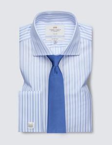 Non Iron Blue & White Multi Stripe Fitted Slim Shirt - Full Cutaway Collar - Double Cuff