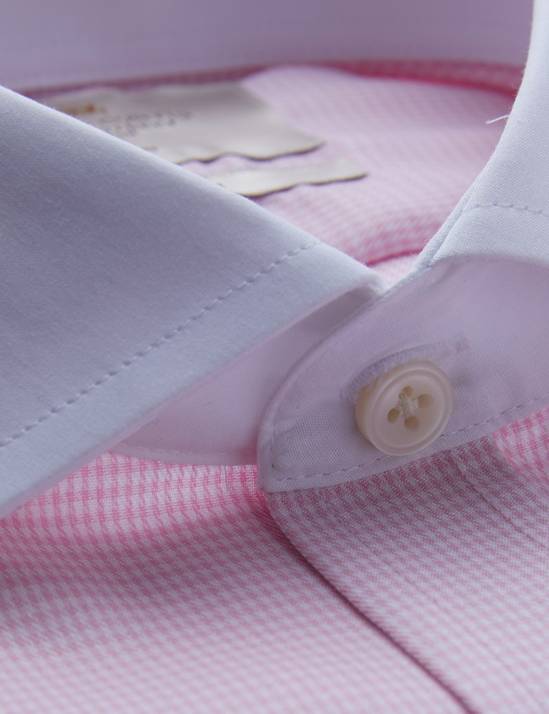 Bügelfreies Businesshemd – Fitted Slim Fit – Manschetten – weiß rosa Winchesterkragen