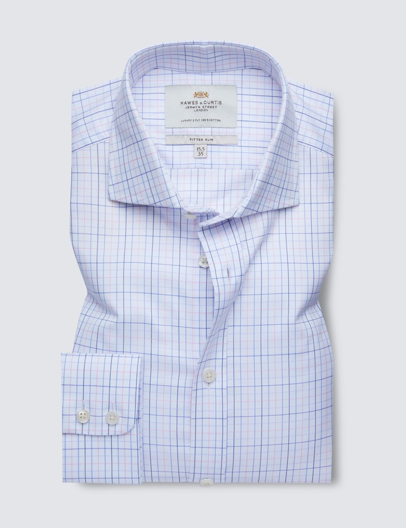 Easy Iron Pink & Blue Multi Check Fitted Slim Shirt - Windsor Collar