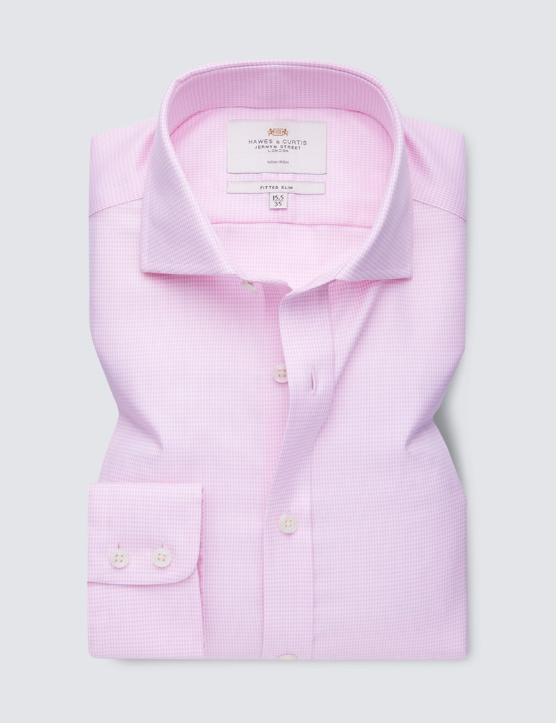 Non Iron Pink & White Dogstooth Fitted Slim Shirt - Windsor Collar - Single Cuffs