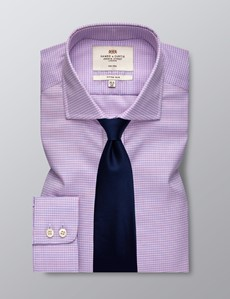 Men's Business Pink & Blue Fitted Slim Shirt - Windsor Collar - Single Cuff - Non Iron
