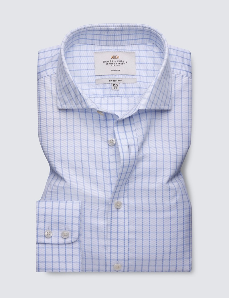 Men's Business Blue & White Windowpane Check Fitted Slim Fit Shirt - Single Cuff - Windsor Collar - Non Iron