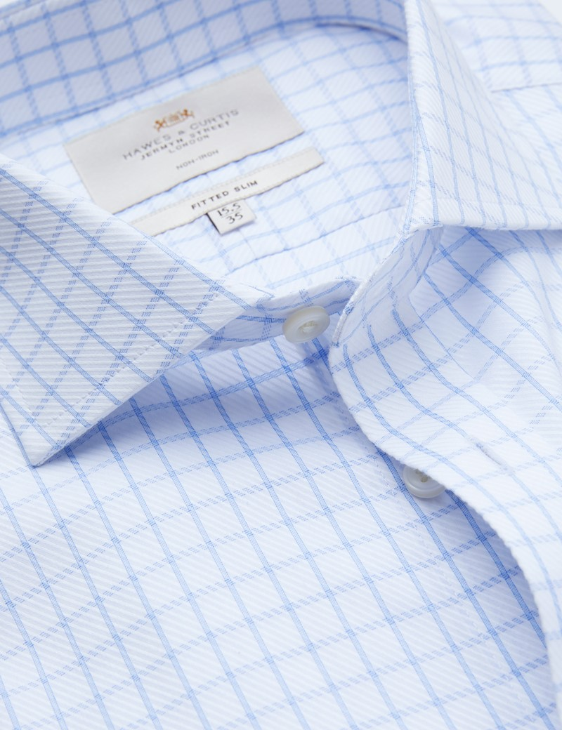 Non Iron Blue & White Textured Check Fitted Slim Fit Shirt - Windsor Collar