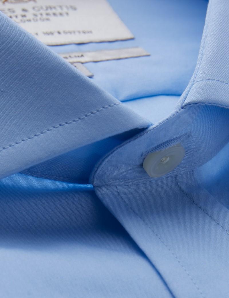 Men's Formal Blue Poplin Fitted Slim Shirt - Windsor Collar - Single Cuff - Easy Iron